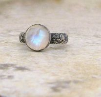 Moonstone Silver Patterned Ring by SilverSmack