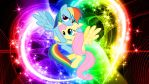 FluttershyXRainbow Dash (Wallpaper) by Hardii