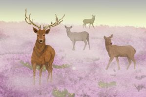 Deer in Mist by Golden-tetrise