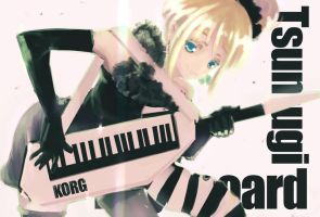 She is the keyboardist,Tsumugi by supercynic