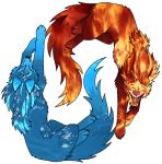 Fire and Water Wolfs - Ifrit and Aquaria by Mistress-DarkLoki