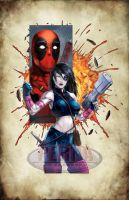 Domino Deadpool Color Print by tonyperna