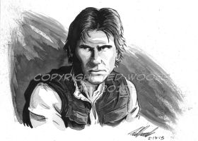 Headshot--Han Solo (Harrison Ford) by tedwoodsart