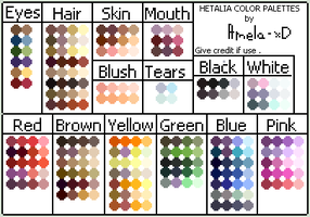 Hetalia Color Palettes by Amela-xD