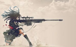 Sniper Schoolgirl Wallpaper 02 by PimplyPete