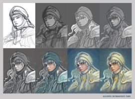 Griffith fanart - step by step by alempe