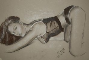 Kneeling girl - from a photo by marshon