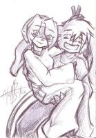 PEN SKETCH of Sash and Trent by gunmouth