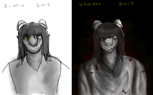 Comparison  in time from quick sketch to finished by elitex2211
