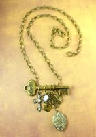 Antique Brass Mixed Media Necklace by DryGulchJewelry