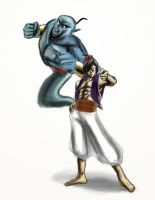 Genie *Stands* behind Aladdin by kuroi-kenshi