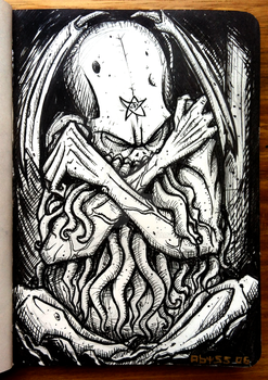 Cthulhu, The Sleeping Beauty - INKtober day #5 by Abyssmosis