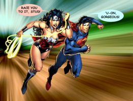 SUPERMAN AND WONDER WOMAN - Amazing race. by godstaff