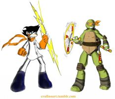 Chiro and Michelangelo by QueenAnime21