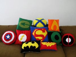 Super Hero Pillows by SailorAnime