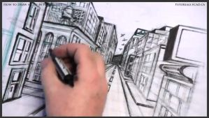 How to draw a city in one point perspective 039 by drawingcourse