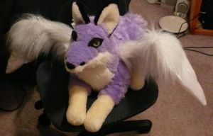 Purple winged fox plush by Bladespark