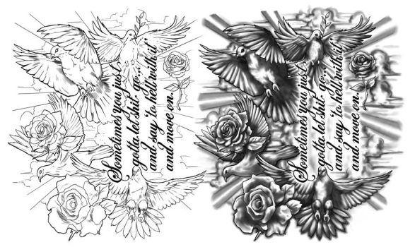 Doves and Roses by CrisLuspoTattoos