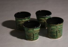 Dragonfly Tea Cups by KCJoughDoitch