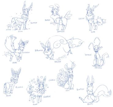 [CONCEPT] The Fake Types Of Eeveelutions (Part 1) by Wouhlven