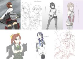 Kantai Collection one draw by halcyonWW