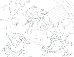 Robot Unicorn Attack pencils by Bee-chan