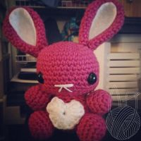 Valentines Day Pink Bunny by theyarnbunny