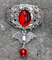 Bloody vampire bat brooch by Pinkabsinthe