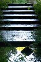 waterfall stairs by bipolargenius