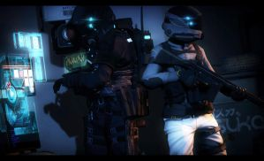 Two Operators hacking there way into a door or s- by Slim-Charles