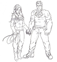 Wonder Girl and Superboy by Num1XMN