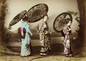 vintage japanese lady trio II by MementoMori-stock
