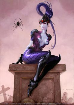 Miss`Widowmaker Muffet - Overwatch + Brom Fanart by fantasio