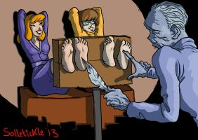 Daphne and Velma tickled by solletickle