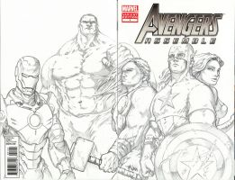 Marvel Avengers Assemble #1 Front and Back Pencils by timwann