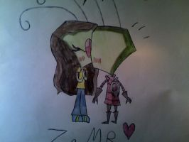 Zim And Meg.....KISSING?!?! by LillyTheSeedrian