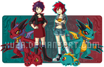 Digimon - Mona, Mandy, and the Dragon Twins by xuza