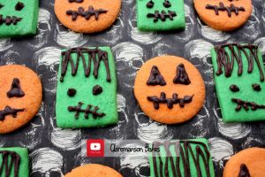 Frankenstein and Pumpkin Cookies (+YouTube Recipe) by claremanson