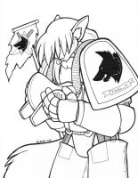 Fang_X in Space Marine Armor by Limeykat (2005) by Fang-X