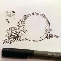 Inktober 04 Puffrog by butterfrog