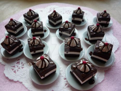 Chocolate cakes and cherries 2 by Meow-Box