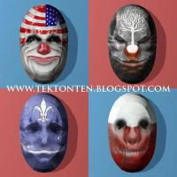Papercraft Payday the Heist Masks by Tektonten