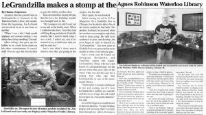 2014 Newspaper Exhibit Article by Legrandzilla