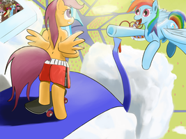 Scootaloos Boarding Trial by atrademonica