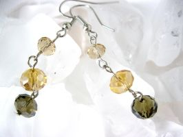 Brown and honey crystal beaded earrings by faranway