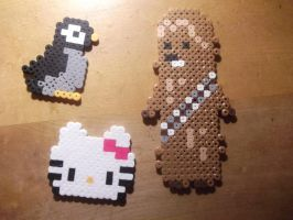 Perler Bead - Chewbacca, Hello Kitty and Penguin by hyper-evil-aly39
