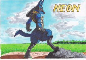 Neon Hymmel the Lucario by TheGoldenMoon