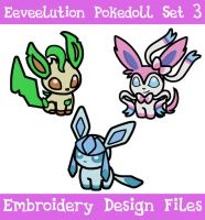 Eeveelution Pokedoll Set 3 [EMBROIDERY FILES] by TheHarley