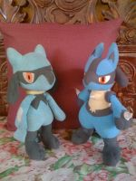 My Riolu and Lucario plush by davyjonesentei123