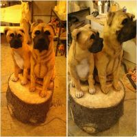 Bull Mastiff and Boxer sculpt by jackaburl